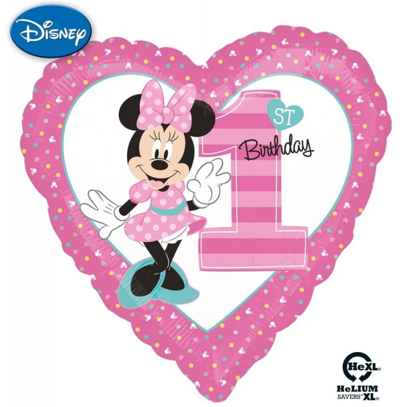 "Palloncini compleanno Minnie 1st Birthday Cuore HeXL® (18"")"