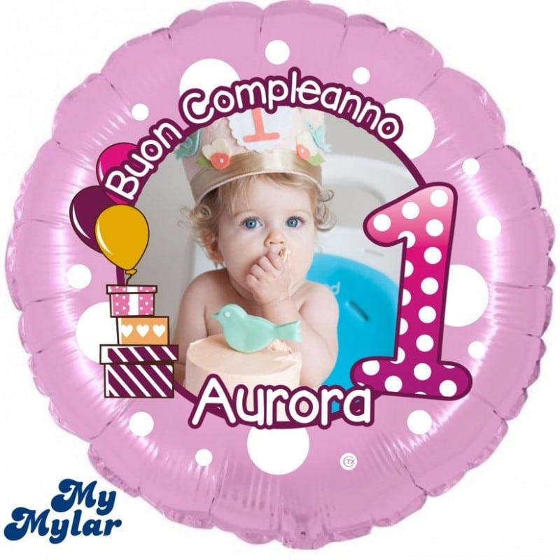 "Palloncini compleanno MyMylar - 1° Compleanno Bimba + Foto (18"")"