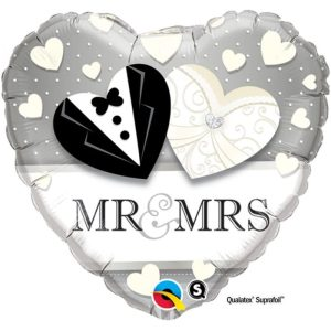 """Palloncini matrimonio Cuore Mr. & Mrs. (18"""")"""