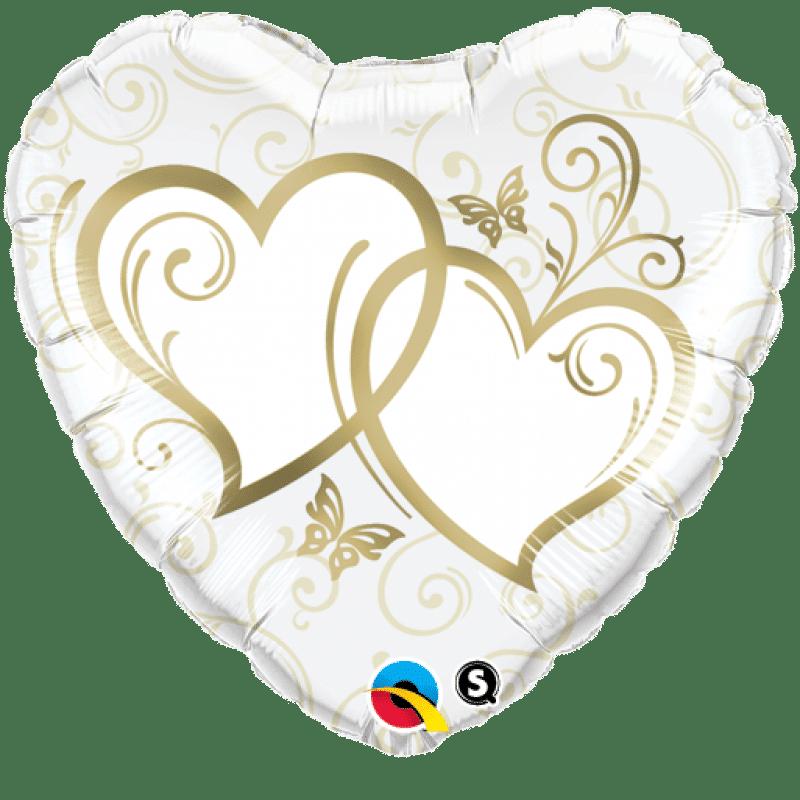 """Palloncini matrimonio Cuori Intrecciati Oro (18"""")"""