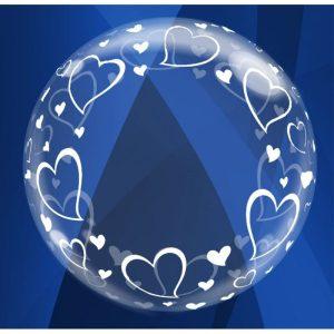 """Palloncini matrimonio Cuoricini Deco-Bubble (24"""")"""