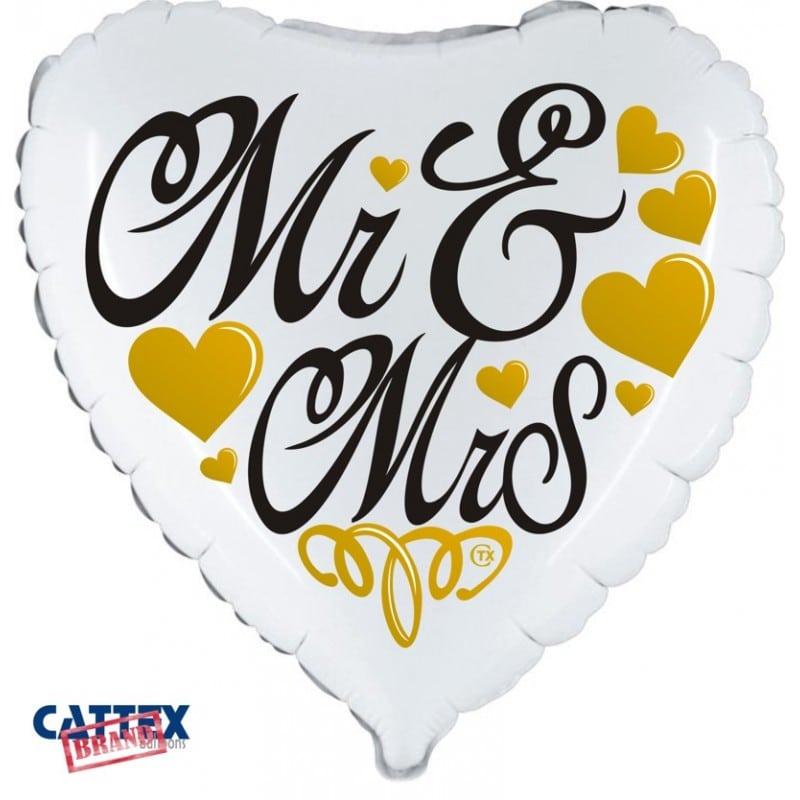 """Palloncini matrimonio Mr & Mrs Cuore (18"""")"""
