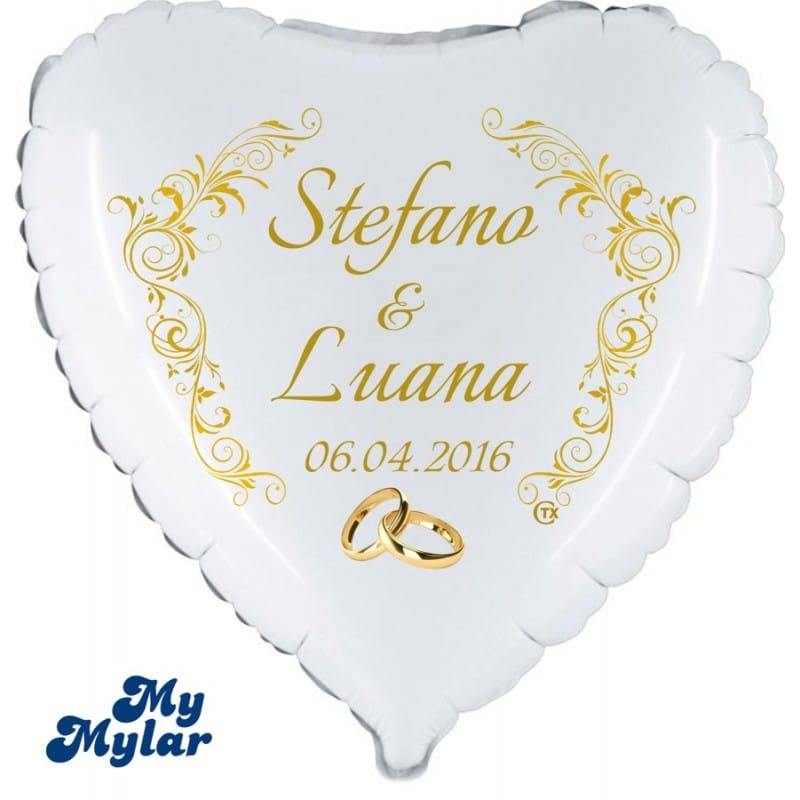 "Palloncini matrimonio MyMylar - Viva gli Sposi + Nomi (18"")"