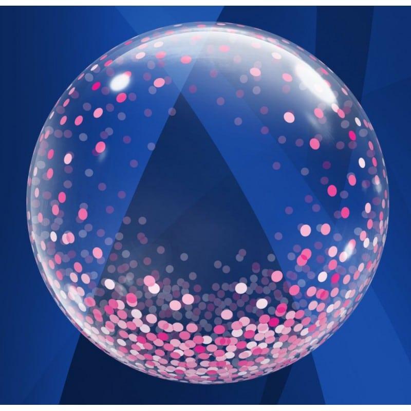 """Palloncini nascita Deco Bubbles Pioggia di Coriandoli Rosa (24"""")"""