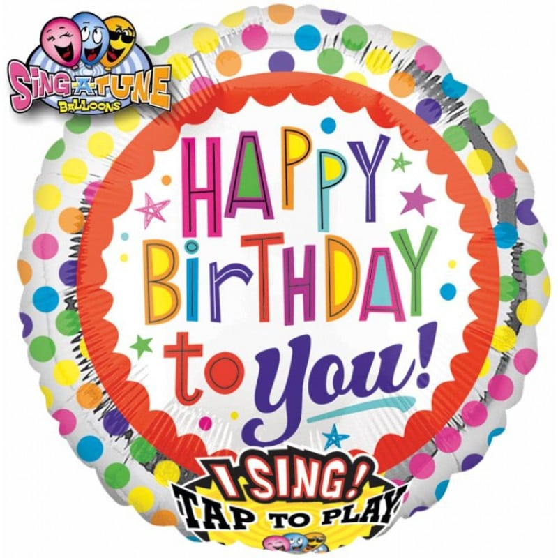 """Palloncini compleanno Pallone Canterino - Happy Birthday (28"""")"""