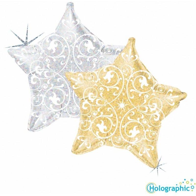 """Palloncini natalizi - stella olografica con filigrana (21"""")"""
