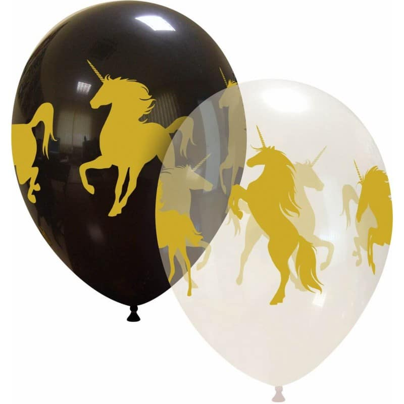 Palloncini stampa globo - unicorni (nero e trasparente)